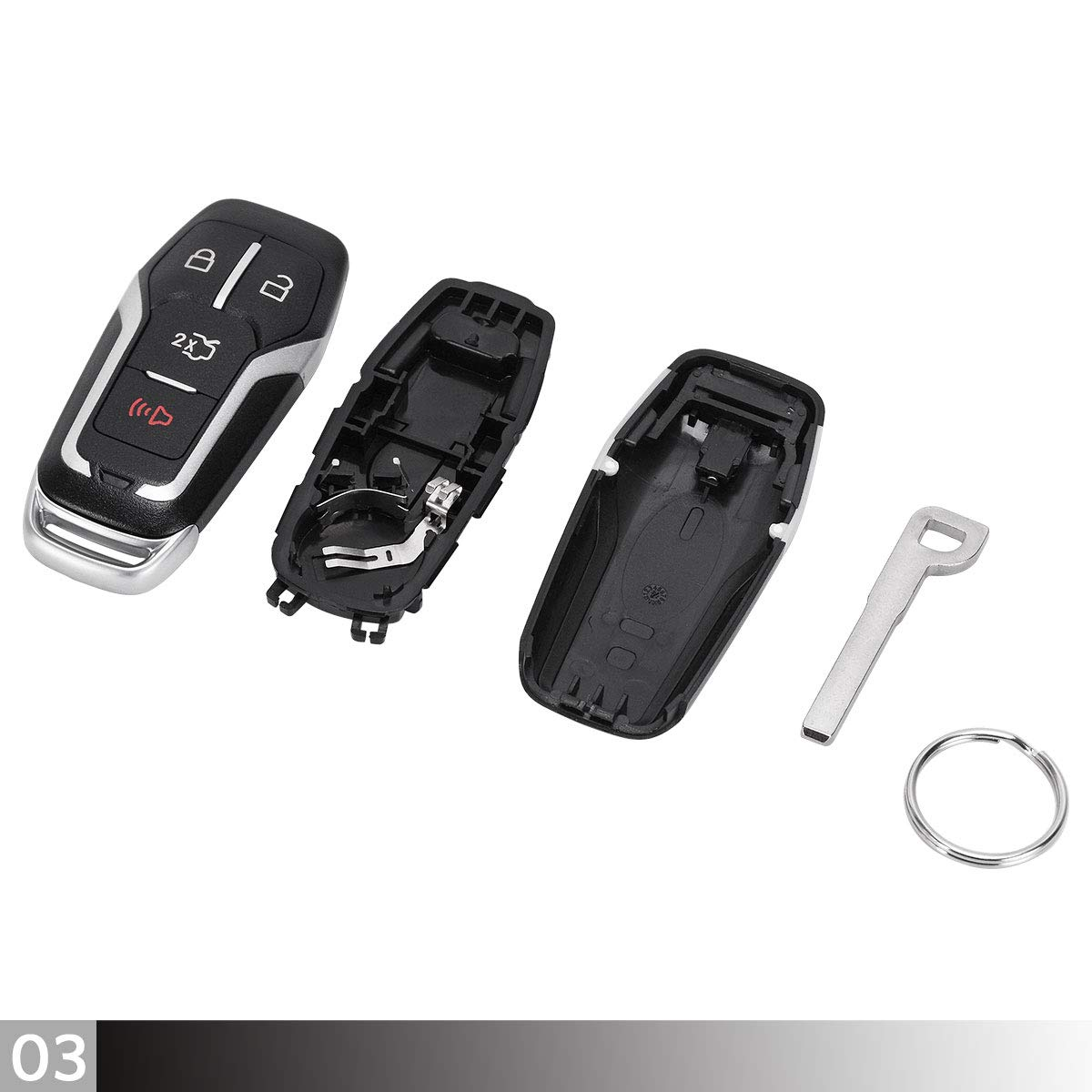 Maxiii Keyless Entry Remote Car Key Fob Shell Case 4 Button 1PC Compatible for 2015 2016 2017 Ford Mustang,for FCC ID M3N-A2C31243800