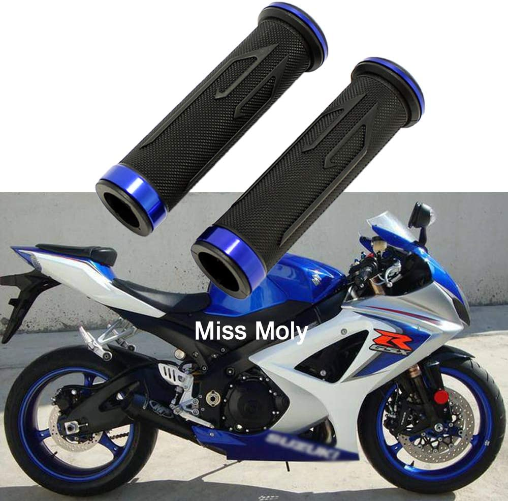 7//8 Motorcycle Hand Grips Blue Aluminium Motorcycle Rubber Grips for CBR Shadow Ninja GSXR YZF