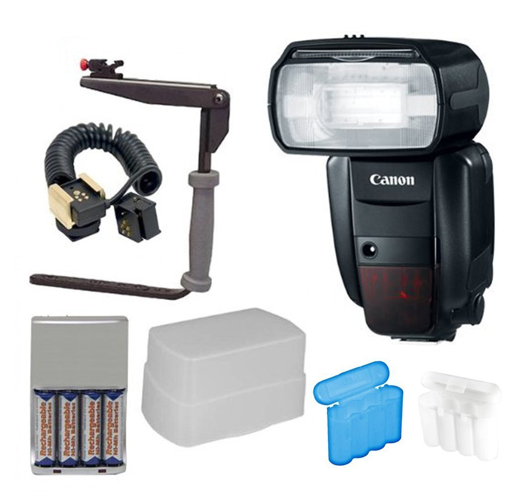 Canon Speedlite 600EX-RT Flash + Deluxe Flash Bracket Accessory Kit for Canon Cameras