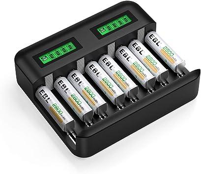 EBL LCD Cargador de Pilas Universal con Puerto Tipo C para Pilas Recargables AA AAA C D: Amazon.es: Electrónica