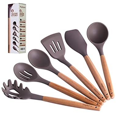 Maphyton Silicone Cooking Utensils, 6 Pieces Nonstick Kitchen Tool Set BPA Free with Natural Acacia Hard Wood Handle