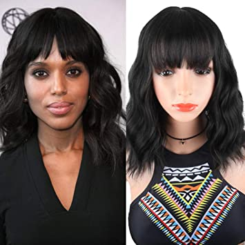 DEYNGS Fashion Short Wavy Wigs With Flat Bangs Natural Black Synthetic Full  Wigs For Women None 3fbebedba6ed