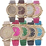 Hmlai 9 pack Women Fashion Elegant PU Leather Band Crystal Analog Quartz Round Wrist Watch Watches