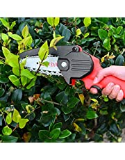 TTLIFE 24V draagbare elektrische zaagzaag, 4-inch oplaadbare mini-accu-kettingzaag met LED-licht, continu werk, 1,5 uur houtsnijden, fruitboomsnijden, rood