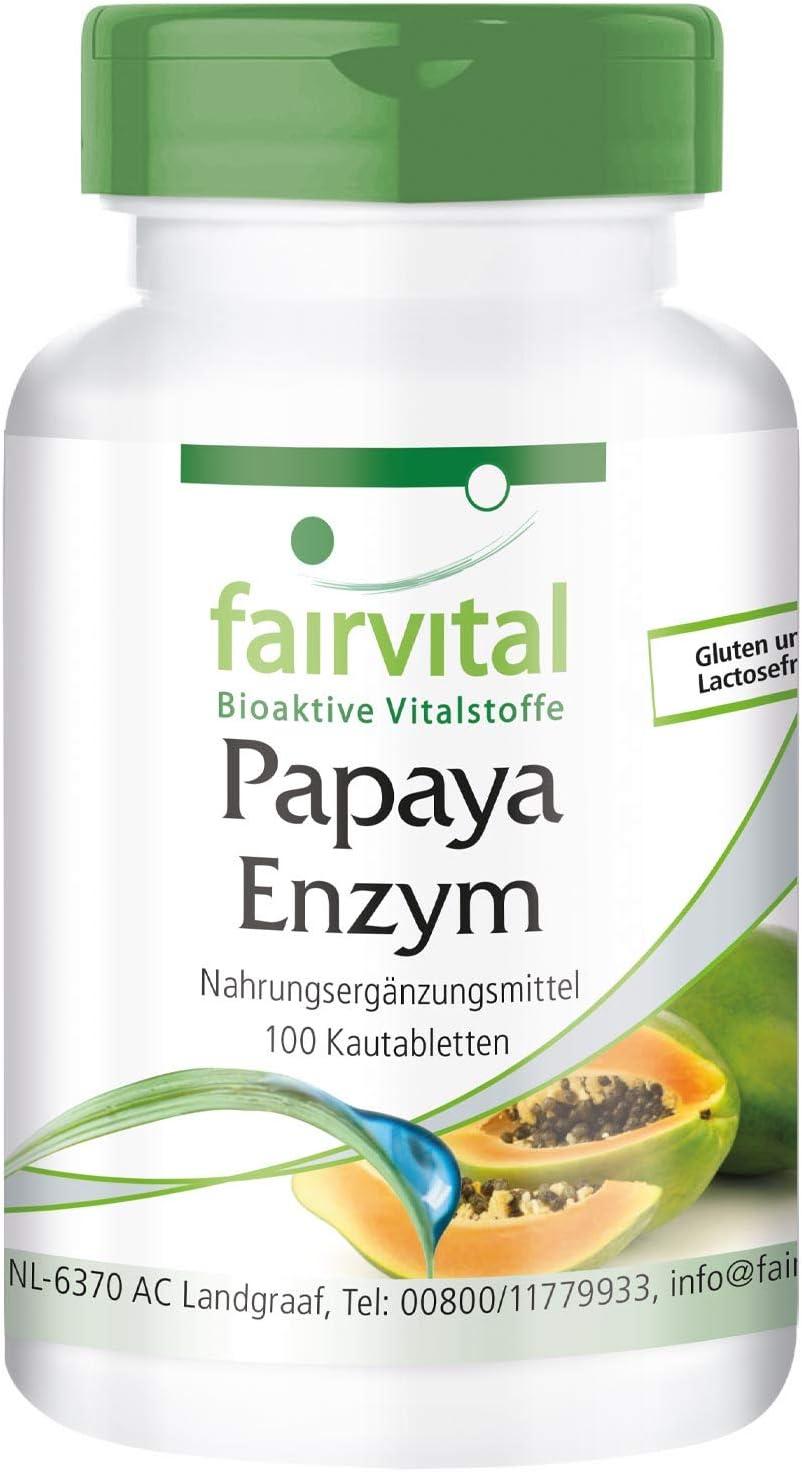 Enzima de Papaya - VEGANA - Papaína + Amilasa + Proteasa - Enzimas Digestivas Naturales - Dosis elevada - 100 Comprimidos - Calidad Alemana