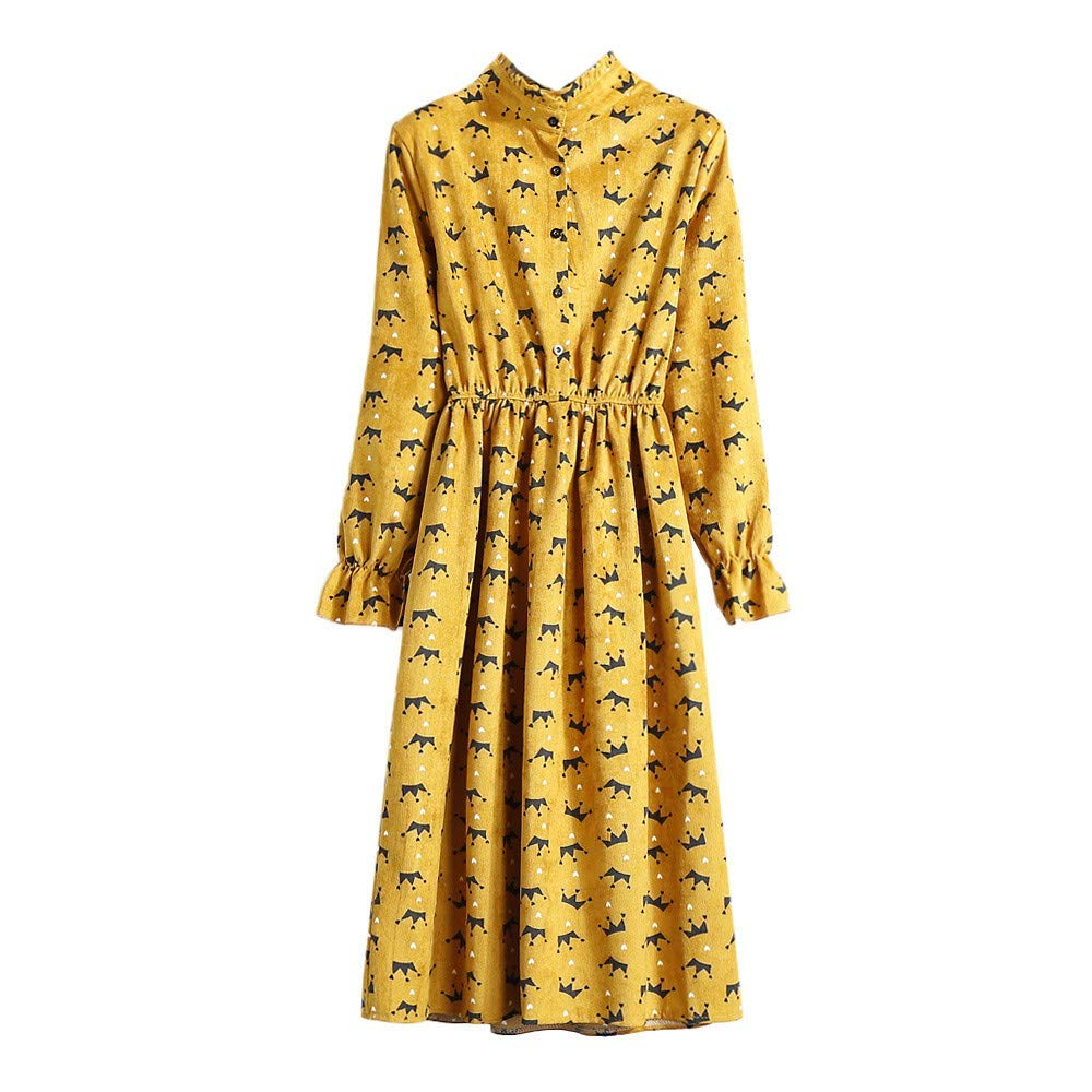 JESPER Women Casual Elastic Waist Stand Neck Floral Velvet Ribbed Vintage Dress Yellow