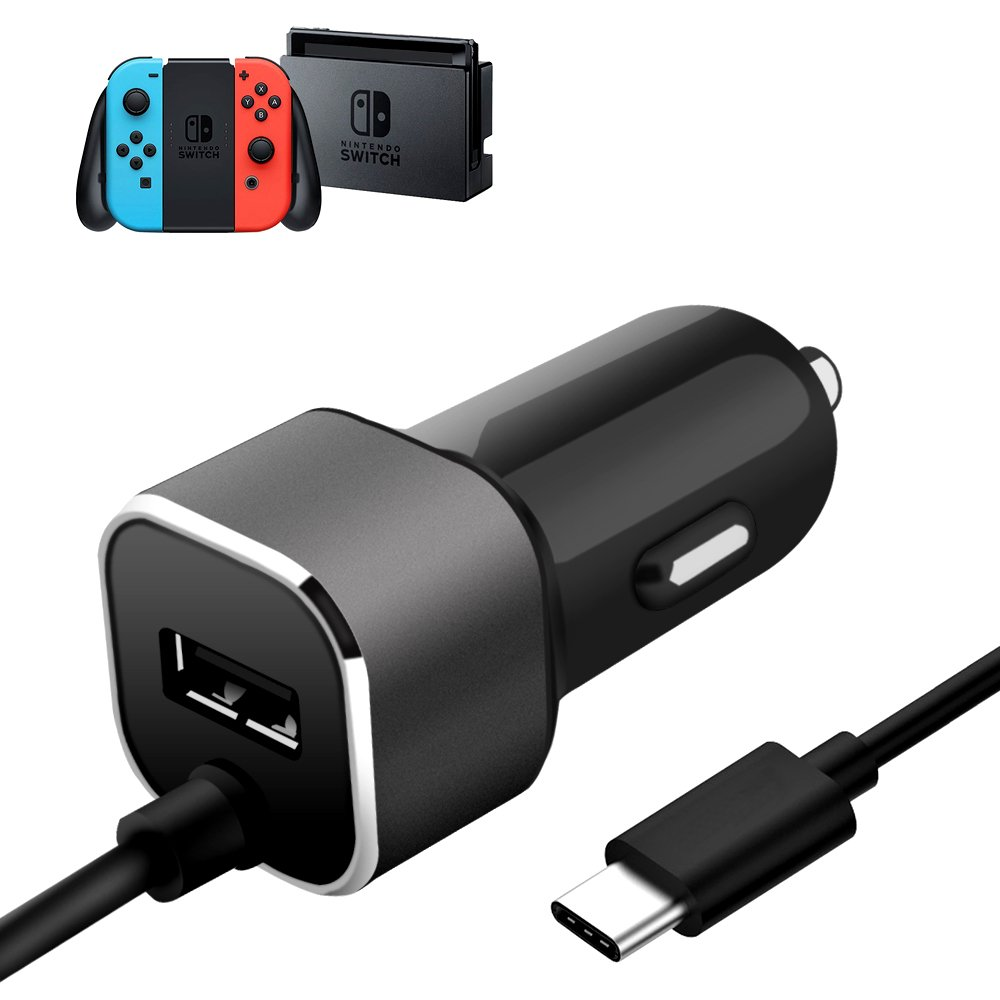 High Speed Car Charger for Nintendo Switch, WGWANG Upgraded Version Charge Kit with One USB Port, 2 in 1 12V/24V Car Charging Adapter with 6 ft Type C Charging Cable for Nintendo Switch (Black)