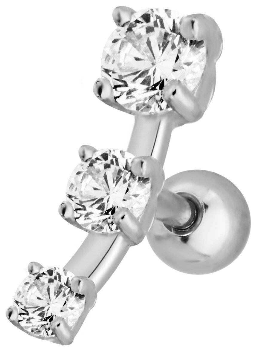 16g 6mm Surgical Steel Triple Clear CZ Crystal Curved Cartilage Stud Earring by Forbidden Body Jewelry