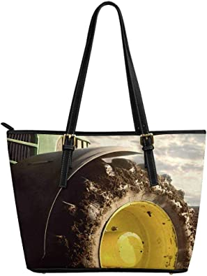 InterestPrint Womens Tote Bags PU Leather Work School Travel and Shopping Print of Circles