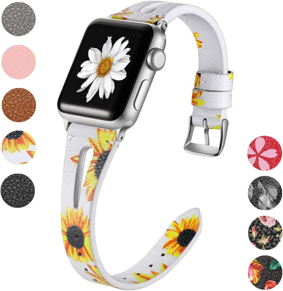 Haveda Leather Bands Compatible with Apple Watch Band 44mm Series 5, Soft Slim Feminine Floral 42mm Wristband for iWatch, Apple Watch Series 4 Series3/2/1, Sun Flower