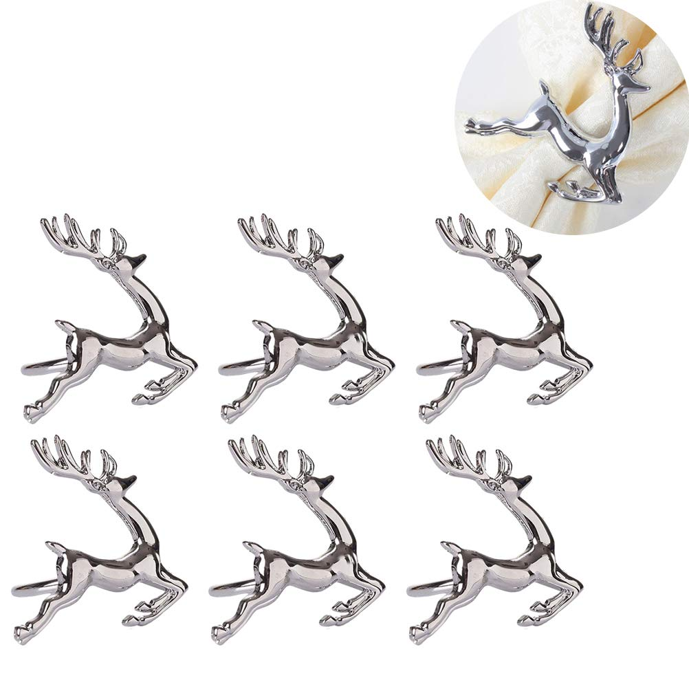 Elinq Set of 6 Alloy Elk Deer Napkin Rings Buckle Table Decorative Ornament for Christmas Wedding Party Everyday Use (Silver)