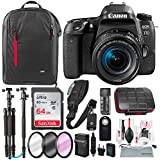 Canon EOS Rebel 77D DSLR Camera with EF-S 18-55mm f/4-5.6 IS Lens and 64GB + Tripod/Monopod + DSLR Backpack + Deluxe Pro Level Accessory Bundle & Travel Kit
