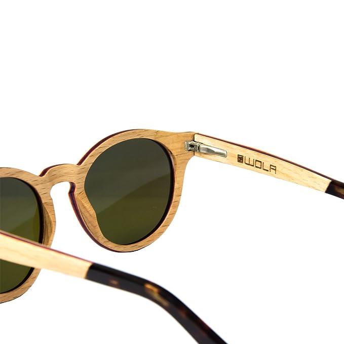 WOLA Damen Sonnenbrille Holz BAUM Brille rund Vollholz und Acetat polarisiert UV400 Birke blau verspiegelt Unisex Damen M - Herren S 7uAYCqBf