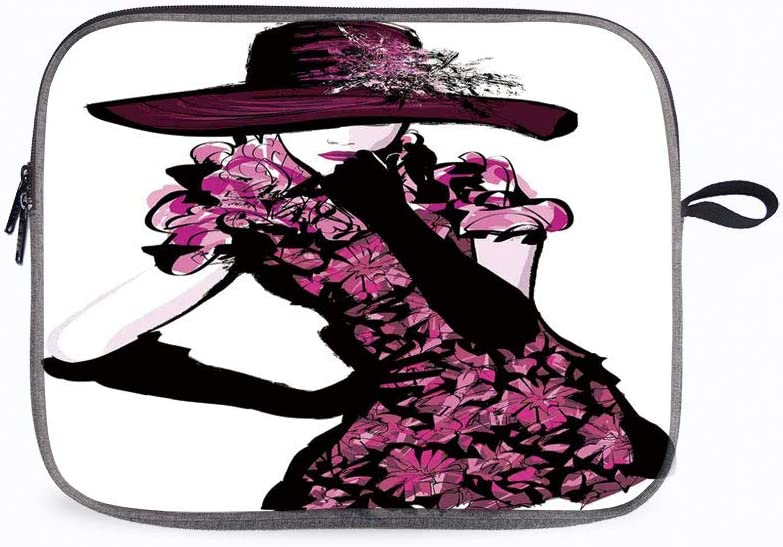 """Woman Figure Furry Hat 13"""" Laptop Sleeve Compatible with 13 inch MacBook Pro A2 159 A 1989 A 1706 A"""