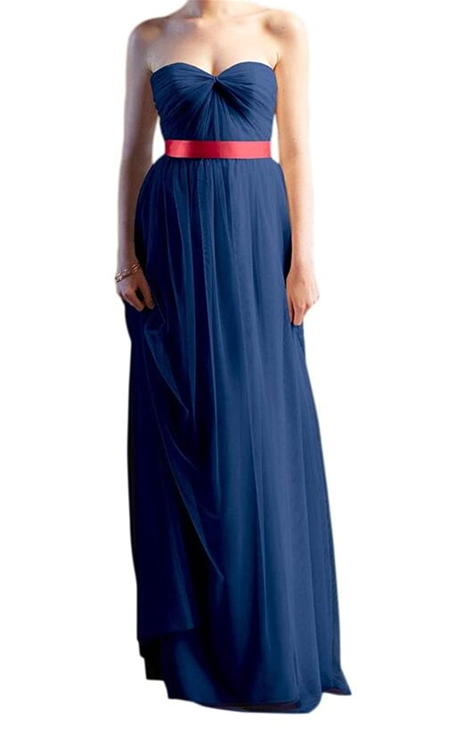 AngelDragon Strapless Ruched Empire Long Tulle Bridesmaid Evening Dress
