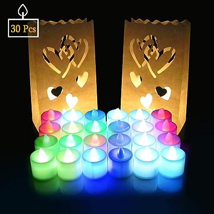SPECOOL Velas LED Sin Fuego, Luces de té con velas LED sin llama con bolsas de velas Velas sin llama Tealight con pilas