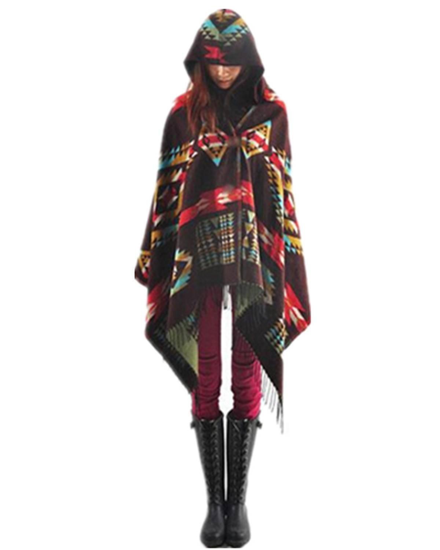 Women Bohemian Collar Plaid Cape Cloak Poncho Jacket Coat Shawl Scarf (Coffee)