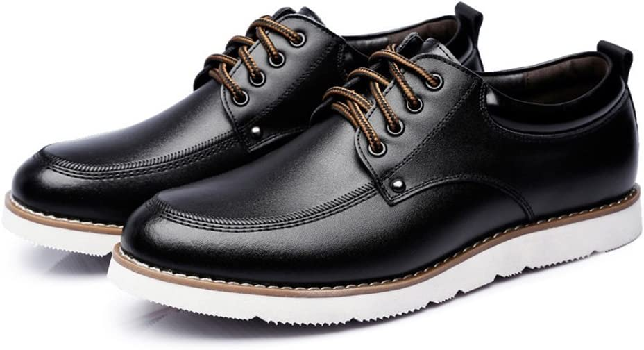 Color : Black, Size : CN26 Z.H.QQHZ Shoes Mens Lace Up Loafers PU Leather Casual Business Soft Flats Sole Oxfords Breathable Leather Shoes