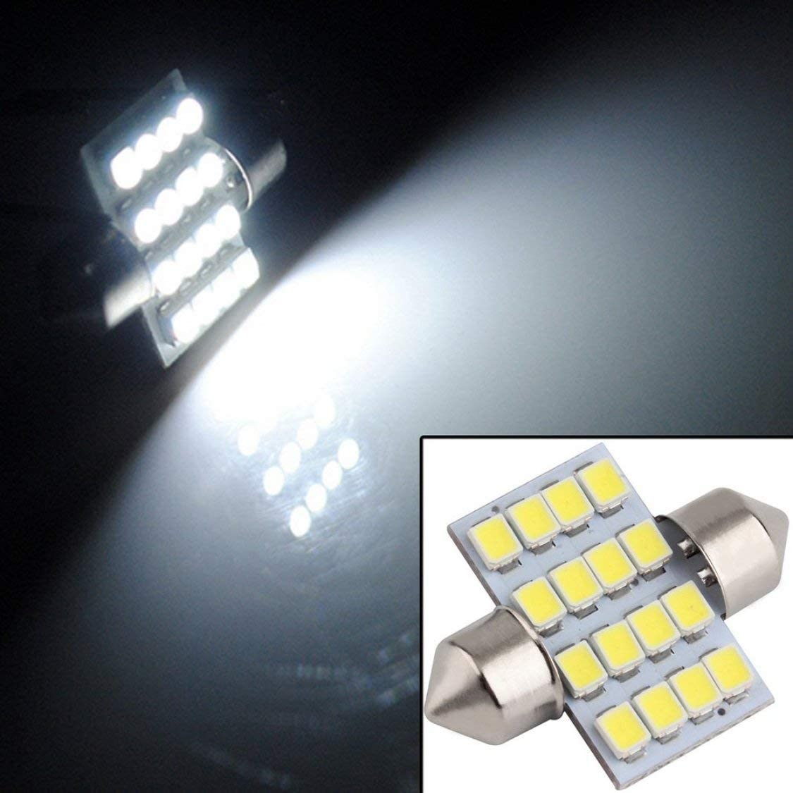 16 SMD LED 1210 31mm Auto Interior Dome Festoon Bulb Car Light Reading Lamp White DC 12V Vehicle Lamp Door Light Source