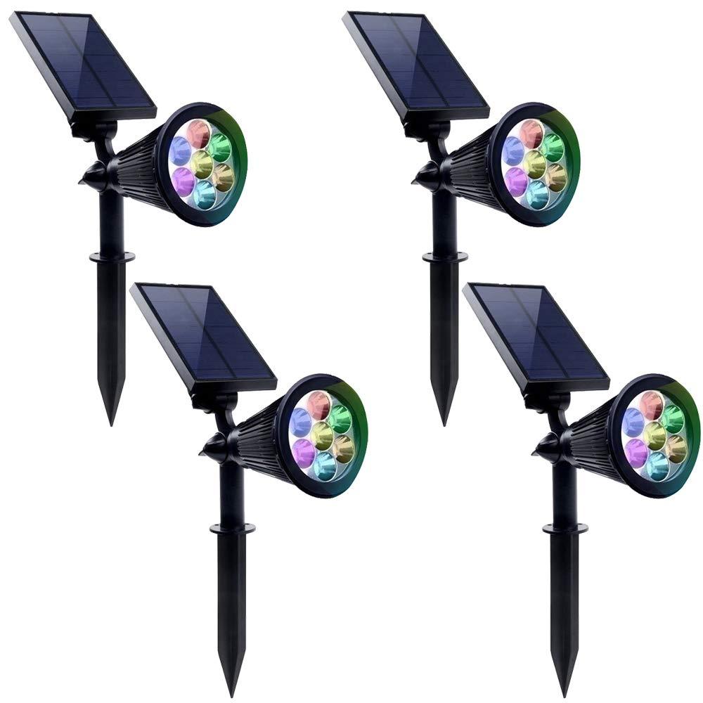 Luci solari da esterno a LED ad energia solare impermeabile, con supporto da parete e funzione di rotazione, per prati, cortili, terrazze, vialetti, giardini e altro, in plastica, confezione da 4