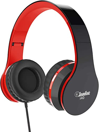 Elecder i40 Headphones with Microphone Foldable Lightweight Adjustable Wired On Ear Headsets with 3.5mm Jack for iPad Cellphones Laptop Computer Smartphones MP3 4 Kindle Airplane School Red Black