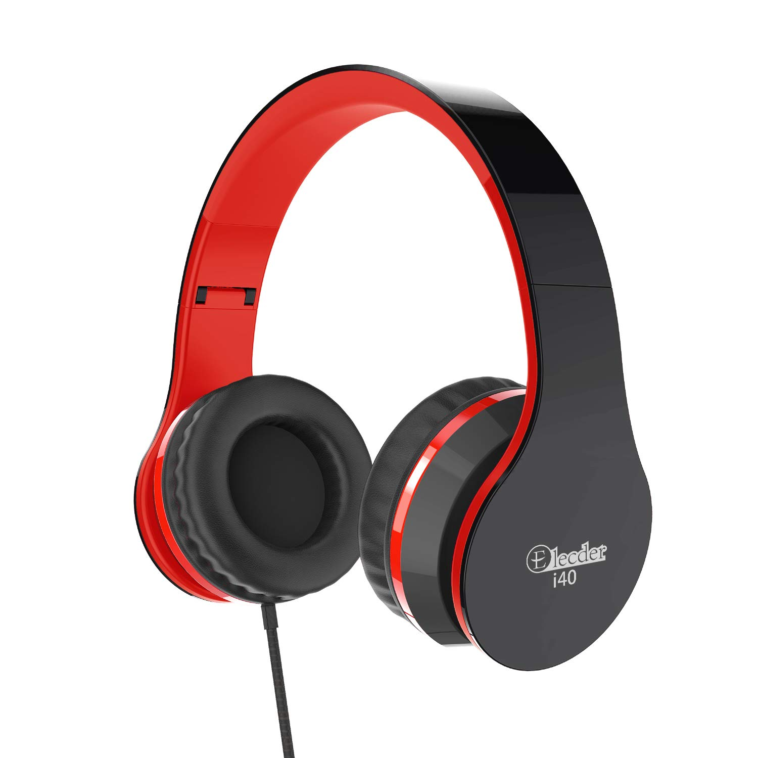 Elecder i40 Headphones with Microphone for Kids Children Girls Boys Teens Adults Foldable Adjustable Wired On Ear Headsets for iPad Cellphones Computer MP3/4 (Red/Black)