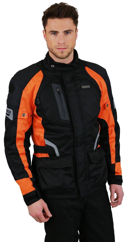 NERVE 1511152009_06 Giacca Moto Touring Spark, Nero/Arancione, XXL KangQi
