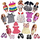LFORBB American Girl Doll Clothes, 7 Clothes and 5 Shoes, Accessories Set