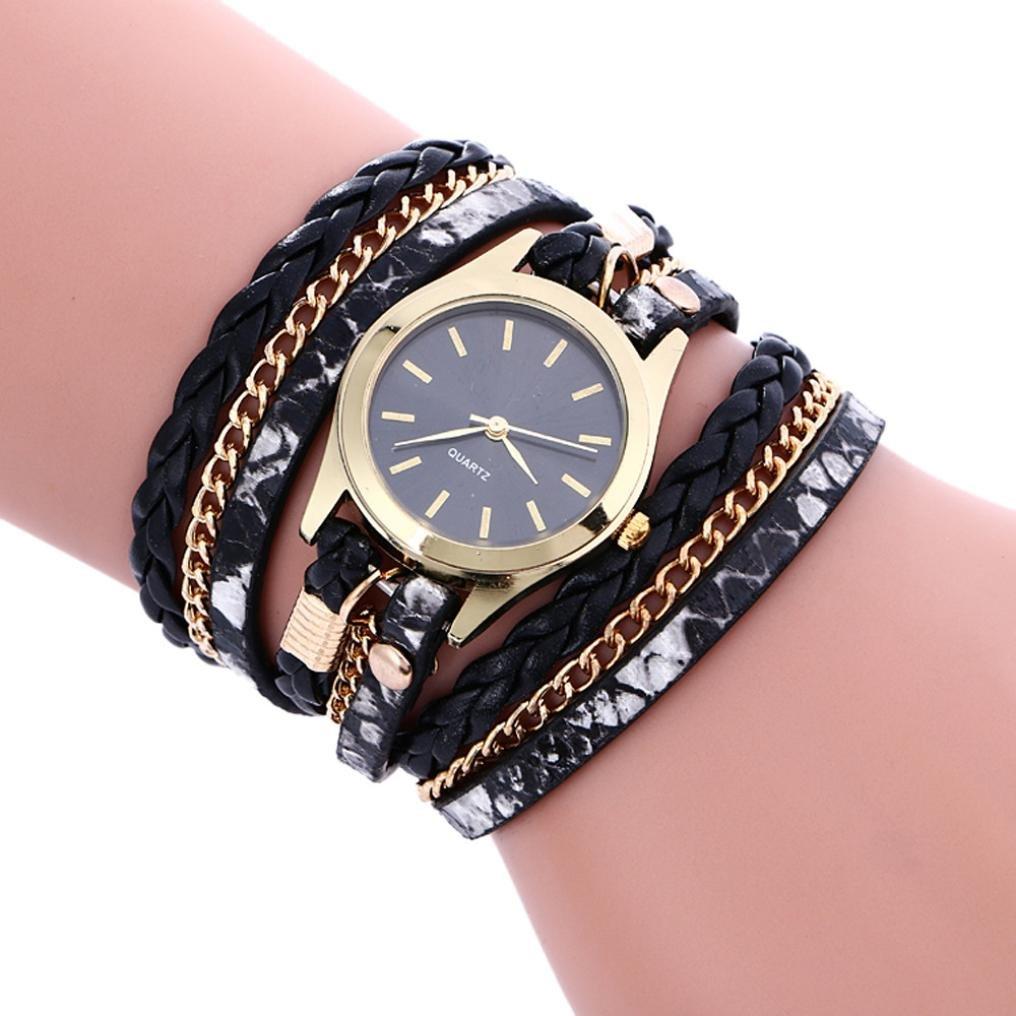 Rhinestone Bracelet Watch, Women Bohemian Style Multilayer Leather Analog Quartz Wrist Watch Gift For Girls (Black)