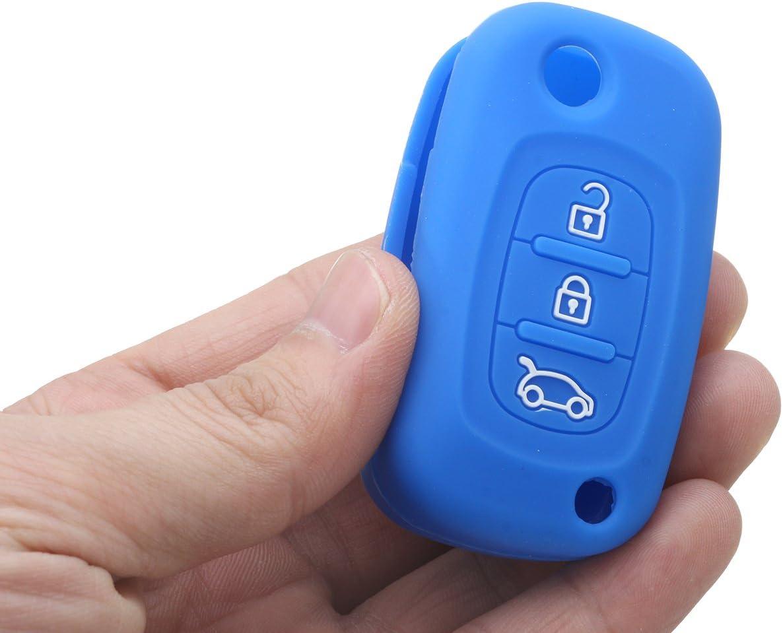 Verde Viviance 3 Bottoni in Silicone Flip Chiave Cover Caso FOB per Renault Clio Kangoo Megane Modus