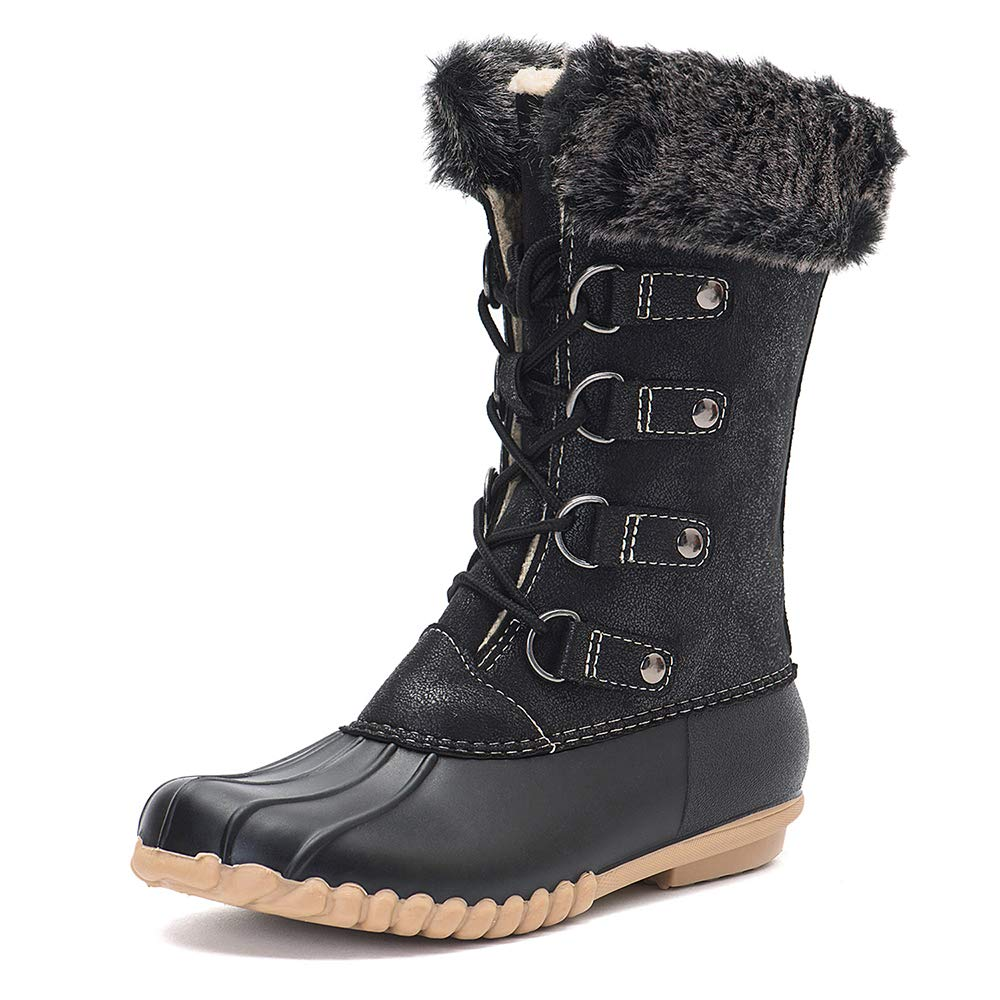 Black DKSUKO Women's Winter Duck Boots with Warm Fur Waterproof Rain Boots