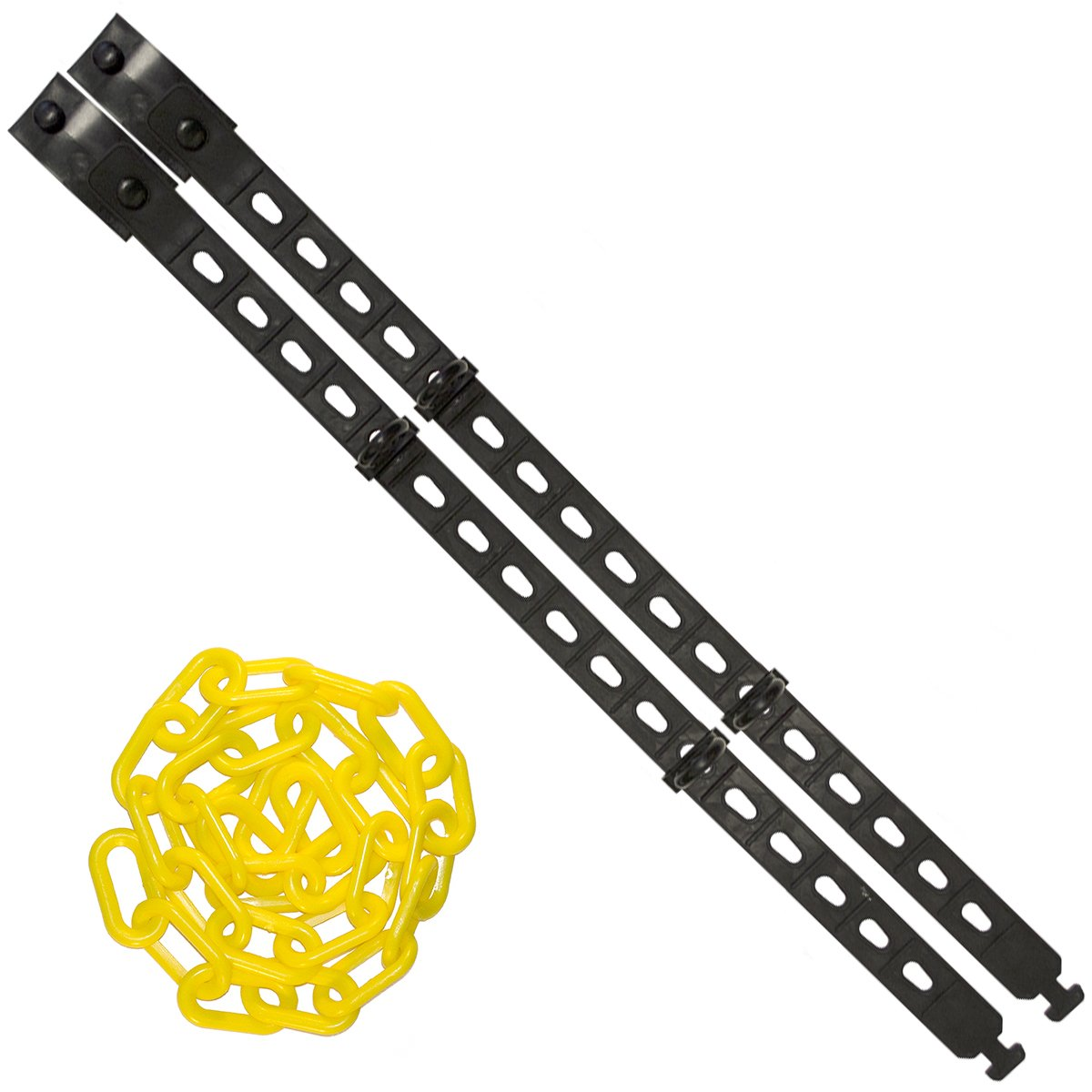Mr. Chain - Connect-ALL Kit – Large - with 25 feet of 2'' Yellow Plastic Chain – Connect to Bollards, Delineators, Post and more.