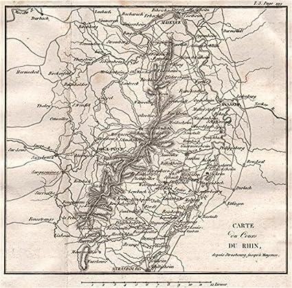 Amazon Com Map Of The Rhine From Strasbourg To Mainz Mannheim