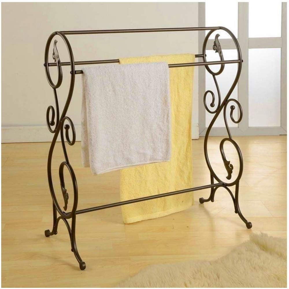 BS Vintage Quilt Rack Stand Metal Blanket Rack Bedspread Storage Display Scroll Metal Iron Storage Display Bedding Rustic for Comforters Towels Home Bedroom Quest Room & eBook by BADA Shop