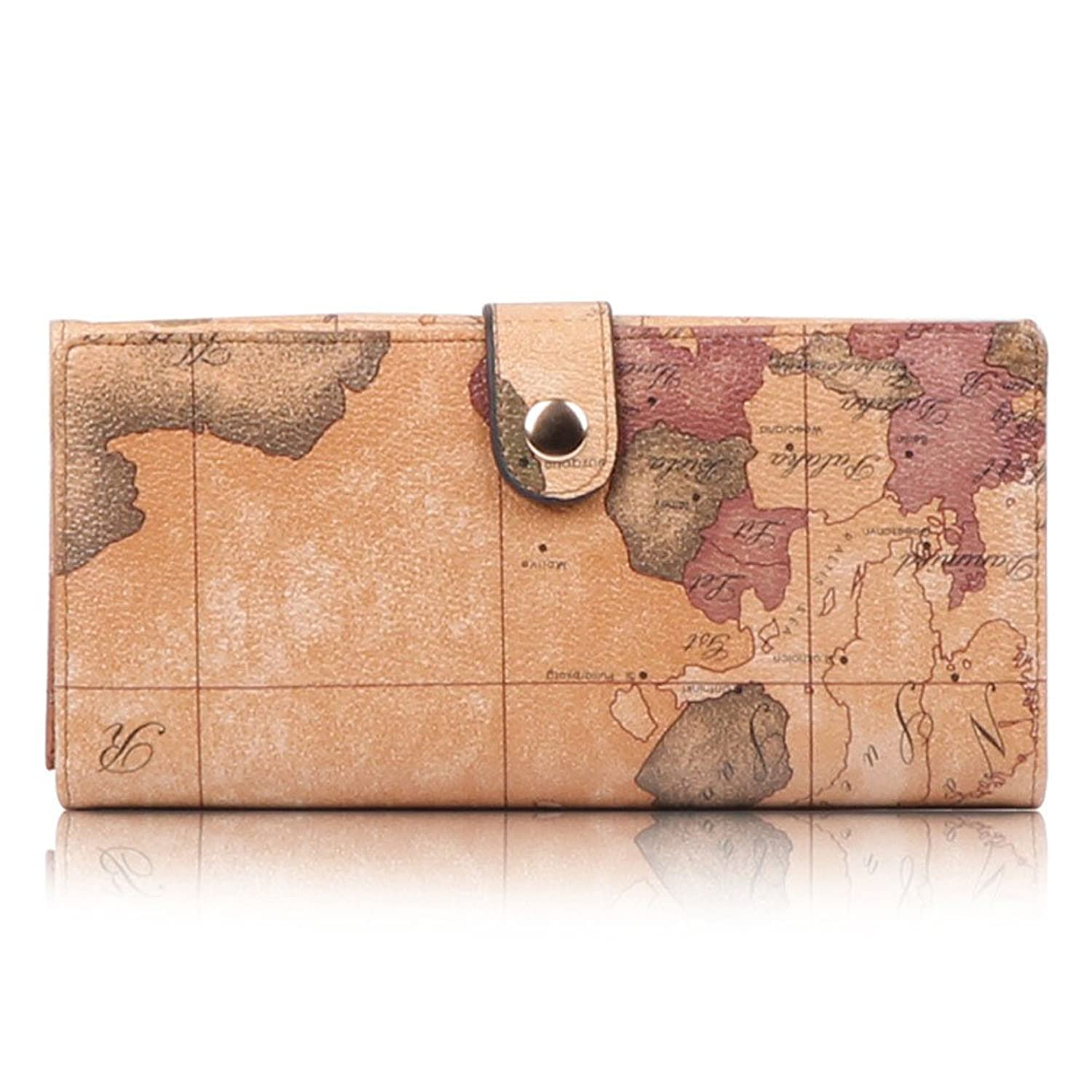 Aibag Retro Tourist World Map Women's Wallet Purse