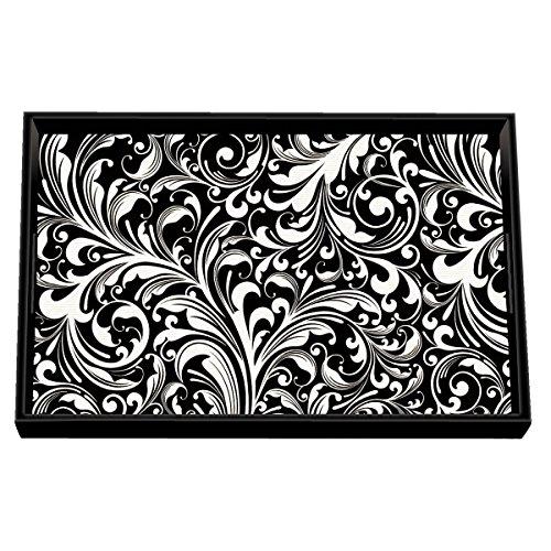 (Michel Design Works Black Florentine Vanity Decoupage Wooden Tray)
