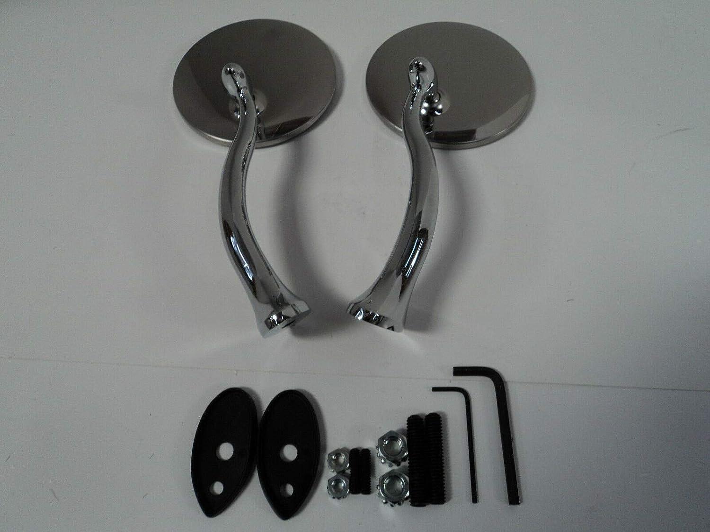 Stainless Steel Swan Neck Mirrors Pair Universal