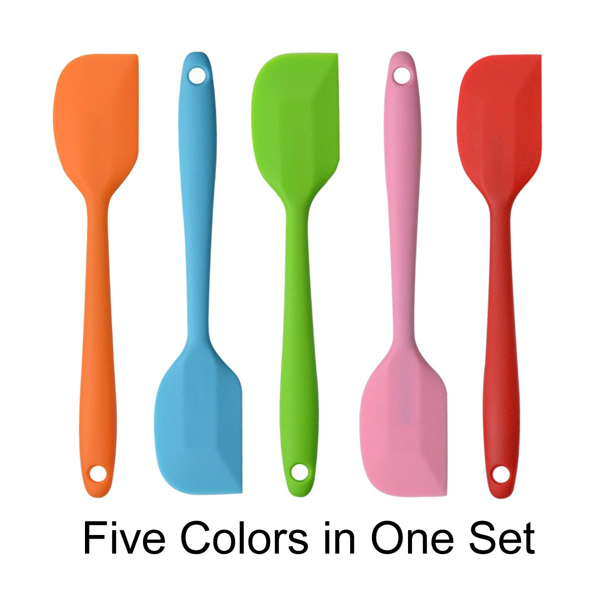 TYHY 8.5 inch Silicone Spatula One Piece Design-Heat Resistant Kitchen Spatulas For Cake Cream Pastry Butter Batter Mixing Cooking Baking-Essential Cooking Gadget (Random Five color)