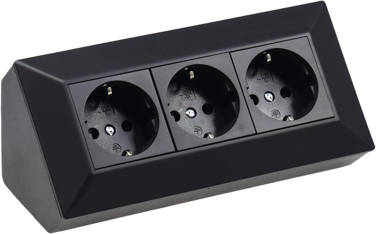ChiliTec 3-Fach Aufbau Steckdose 230V 45/° Winkel Eck Aufputz-Steckdose f/ür K/üche Arbeitsplatte Werkstatt Schwarz