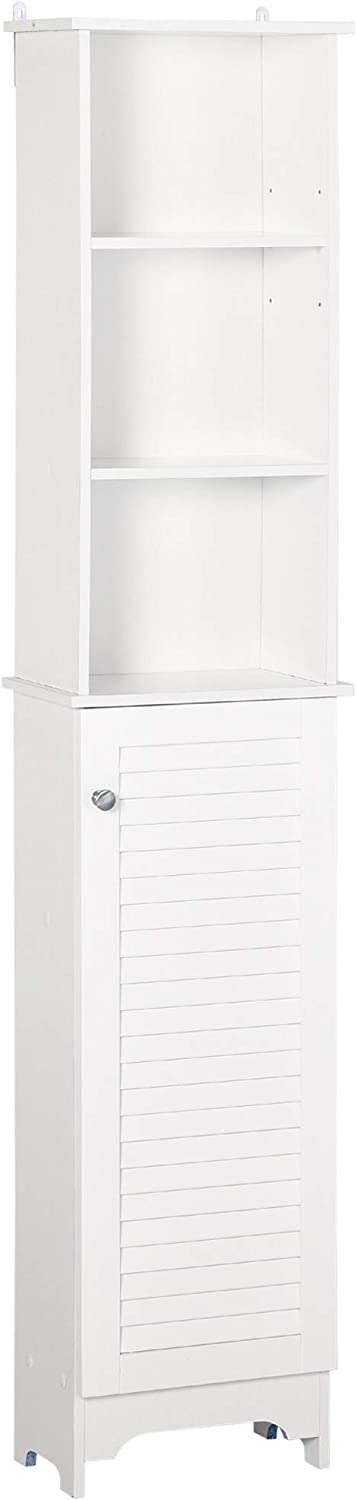 HOMCOM Freestanding Bathroom Tall Storage Cabinet Organizer Tower with Adjustable Shelving & Compact Design, White