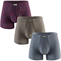 Knitlord Men's Bamboo Underwear Soft Lightweight Low Rise Boxers Briefs 3 Pack