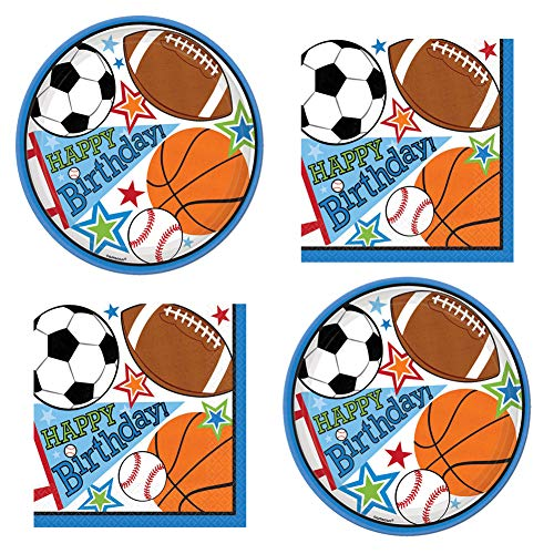Sports Birthday Party Supplies Pack for Girls Boys Adults - (32) Plates & (32) Napkins (7