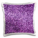 3dRose pc_112889_1 Purple Faux Glitter-Photo of Glittery Texture-Fashionable Girly Trendy Glam Sparkly Bling Effect-Pillow Case, 16 by 16