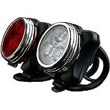 Yakamoz LED Lumière du vélo Set USB Rechargeable et Imperméable Bike d'Eclairage Feux Avant et Arrière la Lampe d'Avertissement de Sécurité du Vélo-Blanc Avant et Rouge Feu Arrière