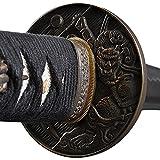 Christmas Sale - Japanese Samurai Katana Swords, Practical, Hand Forged, 1045 Carbon Steel, Heat Tempered, Full Tang, Sharp, Demi-God Tsuba, Bendable Blade, Black Wooden Scabbard, Sword Certificate