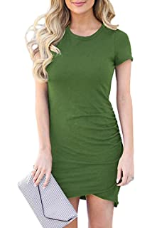 430570dea501 Fantastic Zone Womens Short Sleeve Formal Dress Ruched Irregular Hem Summer Bodycon  Mini Dress