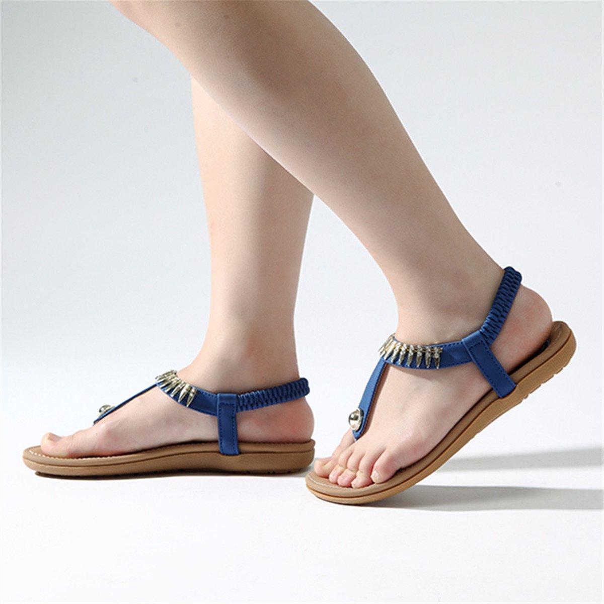 Socofy Bohemian Sandals,Women's Metal Elastic Flat Sandals Summer Bohemia Style Clip Toe Flip Flops Shoes Blue 9 B(M) US by Socofy (Image #7)