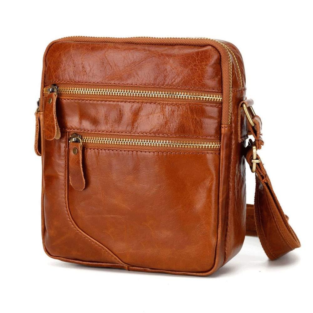MMPY Men Crossbody Messenger Bag Shoulder Leather Fashion Casual Business Satchel Bag Color : Dark Coffee