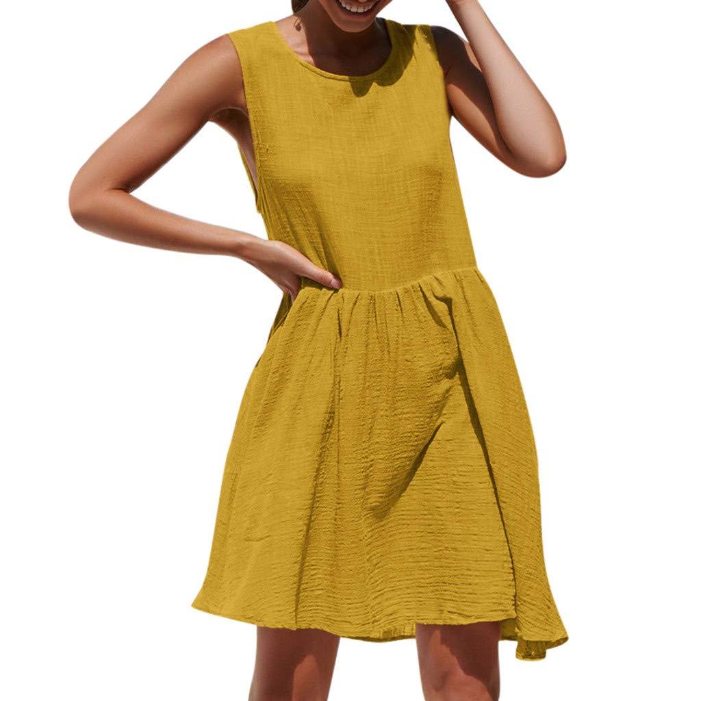 URIBAKY-Kleiden Urinary Damen Shirtkleid Casual Ärmellos Sommerkleid Strandkleider für Freizeit