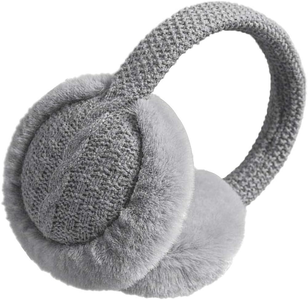GLIN Unisex Warm Faux Furry Earmuffs Winter Adjustable Knitted Plush Ear Warmers